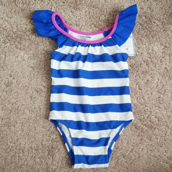 NEW 5 NWT Baby GAP Retro Ruffled Rose Floral One-Piece Swimsuit Swimwear UPF 50
